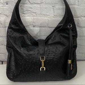 Black Ostrich Leather Hobo Handbag